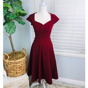 NWT BURGUNDY VINTAGE STYLE PIN UP DRESS